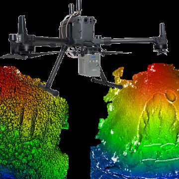 UAV搭載型レーザーによる急傾斜地の画像診断